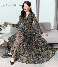 Load image into Gallery viewer, All Year  Elegant V Collar Flower Printed Women Chiffon Long Dress Plus Size S-3XL