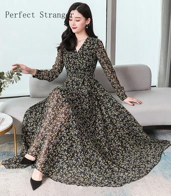 All Year  Elegant V Collar Flower Printed Women Chiffon Long Dress Plus Size S-3XL