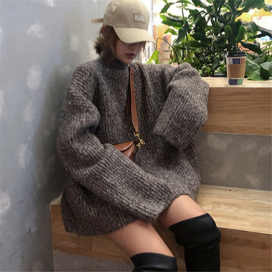 Woherb Autumn Winter Plus Size Turtleneck Sweater Women 2020 Solid Long Loose Oversized Pullover Knitted Jumpers Pull Femme