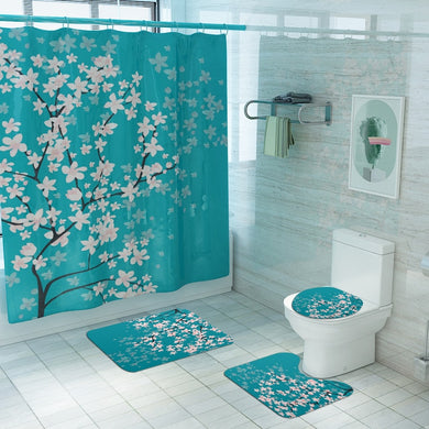 Cherry Blossoms Print Fabric Shower Curtains Bathroom Curtain Set