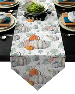 Modern Floral Tablecloth Thanksgiving Design Pumpkin Table Runner For Wedding Hotel Party Table Runners Home Decoration