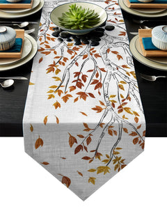 Modern Floral Tablecloth Yellow Leaves Falling In Autumn Table Runner For Wedding Hotel Party Table Runners Home Decoration