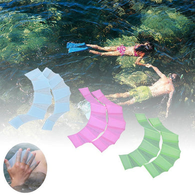 1 Pair Of Soft Silicone Swimming Flippers Finger Webbed Fins Training Gloves Swimming Aids