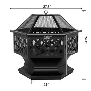 "Fire Pit 24"" Hexagonal Shaped Iron Brazier Wood Burning Fire Pit Decoration for Backyard Poolside  Stove Burner"