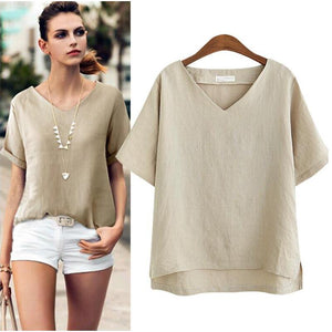 Cotton Linen Blouse Summer Short Sleeve Casual Shirt