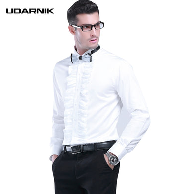 Men Tuxedo Shirts White Square Collar Evening Party Solid Ruffle Front Slim Formal Clothes Streetwear Summer Fashion 903-A148