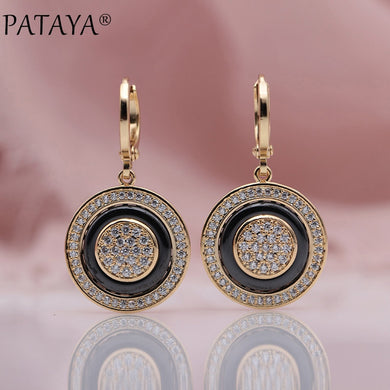 PATAYA New Round Micro Wax Inlay Natural Zircon Black Ceramic Long Dangle Earrings