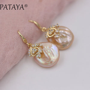 PATAYA New Arrivals Freshwater Irregular Pearls Earrings White Round Natural Zirconia Earrings Women Luxury Wedding Gold Jewelry