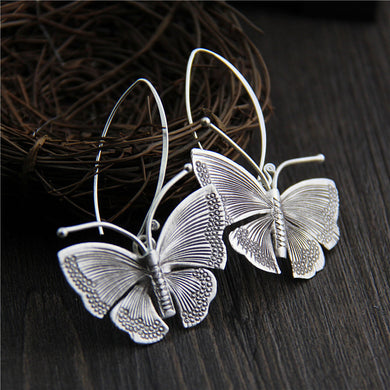 Real Pure 100% 925 Sterling Silver Exaggerated Large Butterfly Drop Earrings For Women Handmade Vintage Style