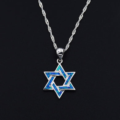 Blue Stone Star of David Pendant Necklace