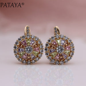 PATAYA New Original Design 585 Rose Gold Luxury Micro-wax Inlay Natural Zirconia Dangle Earrings Women Wedding Earring Jewelry