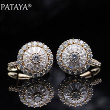 Load image into Gallery viewer, PATAYA New Original Design 585 Rose Gold Luxury Micro-wax Inlay Natural Zirconia Dangle Earrings Women Wedding Earring Jewelry