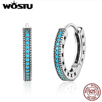 WOSTU 100% Real 925 Sterling Silver Bohemia Style Hoop Earrings