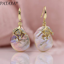 Load image into Gallery viewer, PATAYA New Arrivals Freshwater Irregular Pearls Earrings White Round Natural Zirconia Earrings Women Luxury Wedding Gold Jewelry