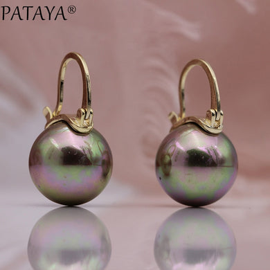 PATAYA New Round AB Imitation Pearls Long Earrings 585 Rose Gold