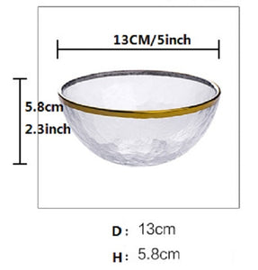 Japanese Gold trimming gold edge bowl, glass bowl, dish,steak dish, heat-resistant glass bowl plate