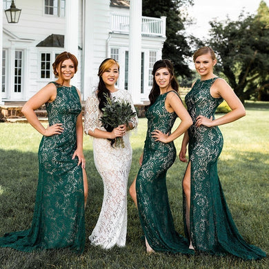 Vintage Lace Emerald Green Bridesmaid Dresses