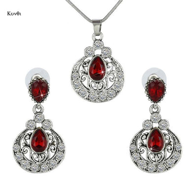 Turkish Jewelry Women Crystal Necklace Earrings Set Wedding Jewelry