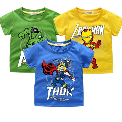 Summer Boys T-shirt Avengers Marvel Superhero Iron Man Thor Hulk Children's Cartoon Raytheon T-shirt Adolescent Casual Top Baby