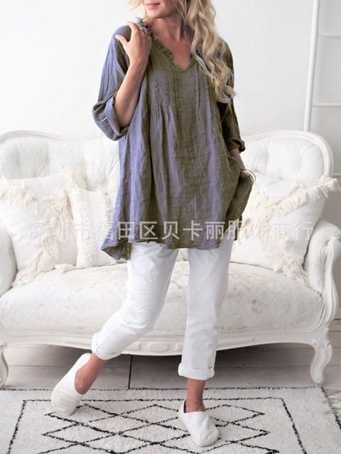 Casual V Neck Long Sleeve Summer Cotton Linen Loose Plus Size Women Clothes
