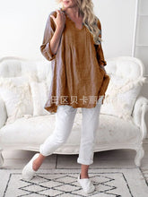 Load image into Gallery viewer, Casual V Neck Long Sleeve Summer Cotton Linen Loose Plus Size Women Clothes