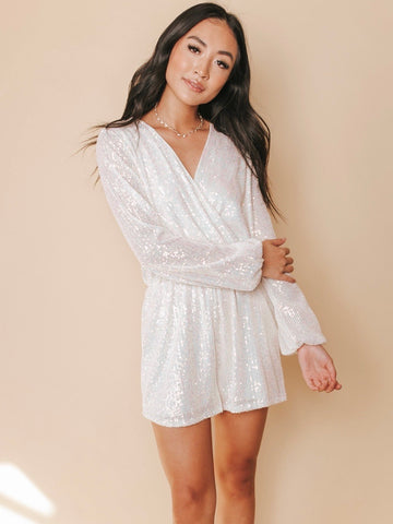 Just Don't Give A Glam Sequin Romper