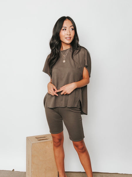 City Girl Olive Biker Shorts
