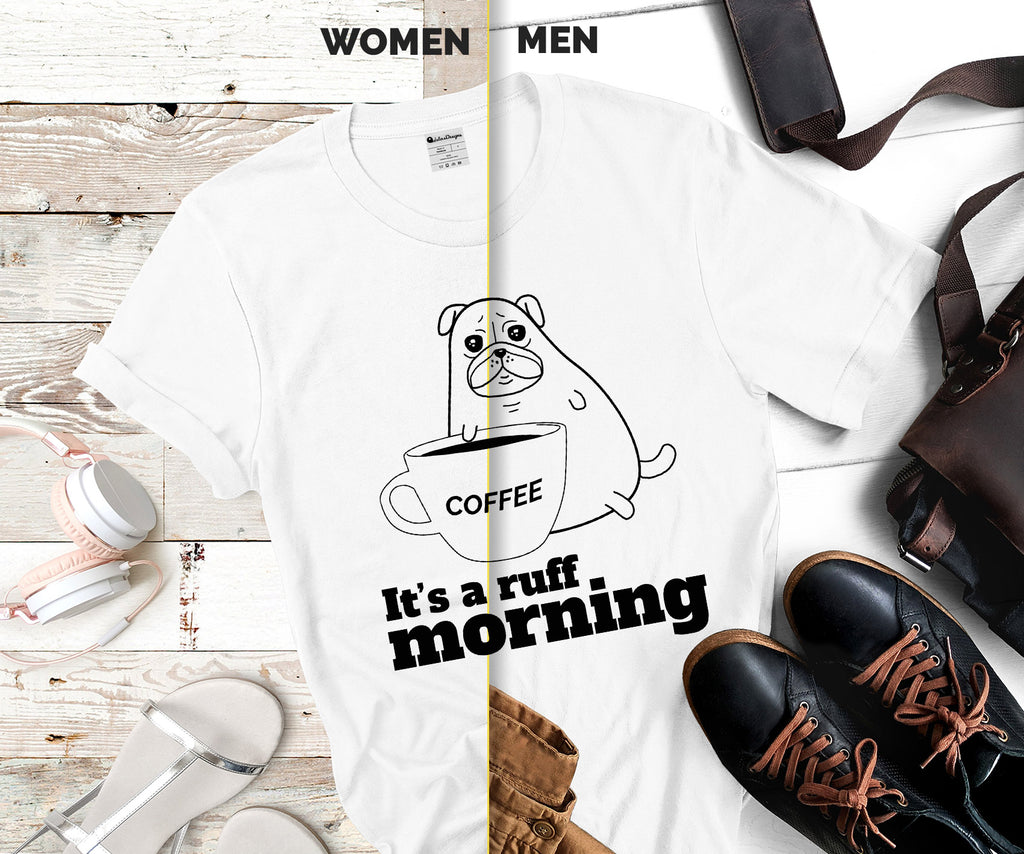 Pug and coffee custom tshirt
