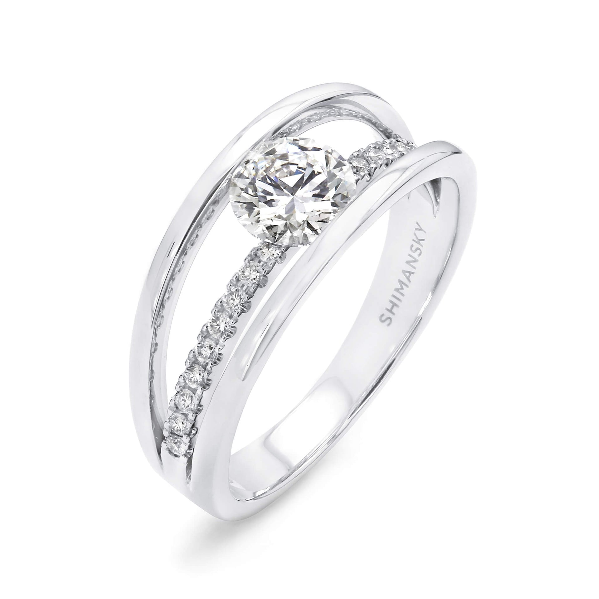 0.84 Carat Evolym Micro Set Diamond Engagement Ring in Platinum 3D View