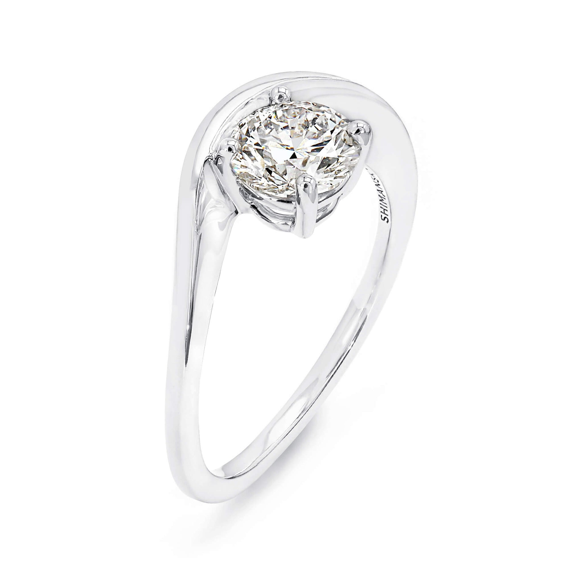 1.04ct Silhouette Solitaire Diamond Engagement Ring in 18K White Gold 3D View