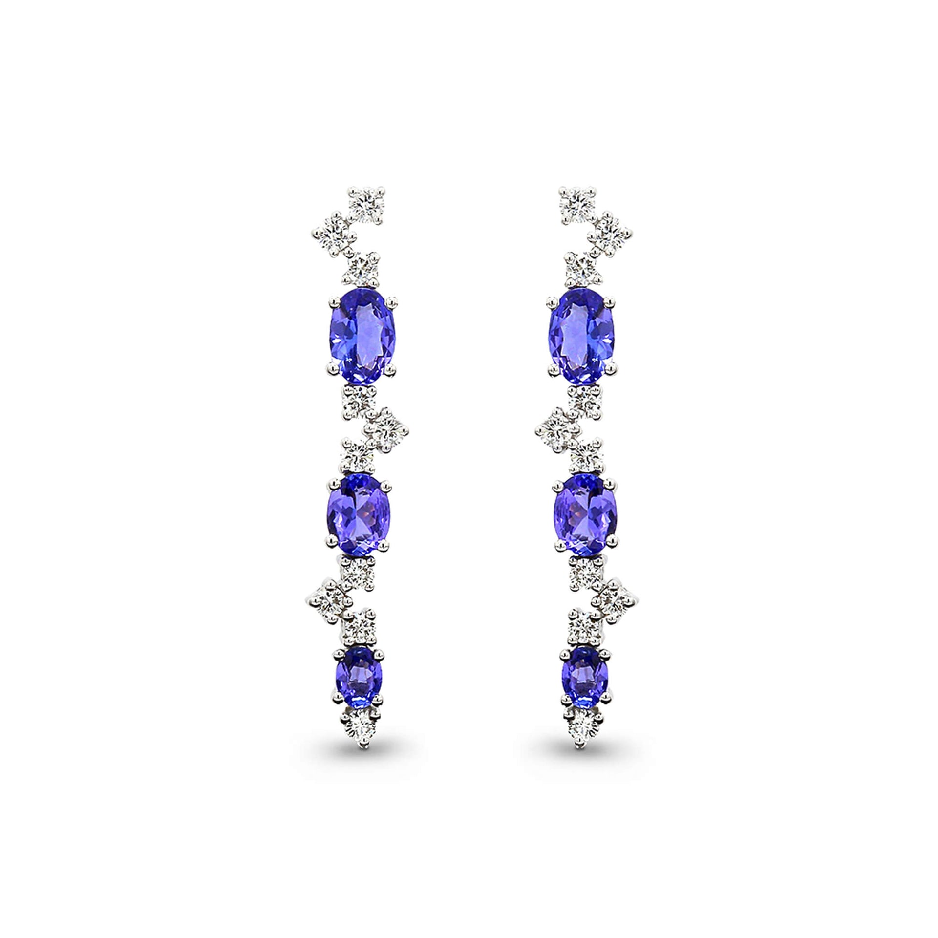 1.76 Carat Oval Cut Tanzanite and Round Brilliant Cut Diamond Drop Earrings in 18K White Gold Front View