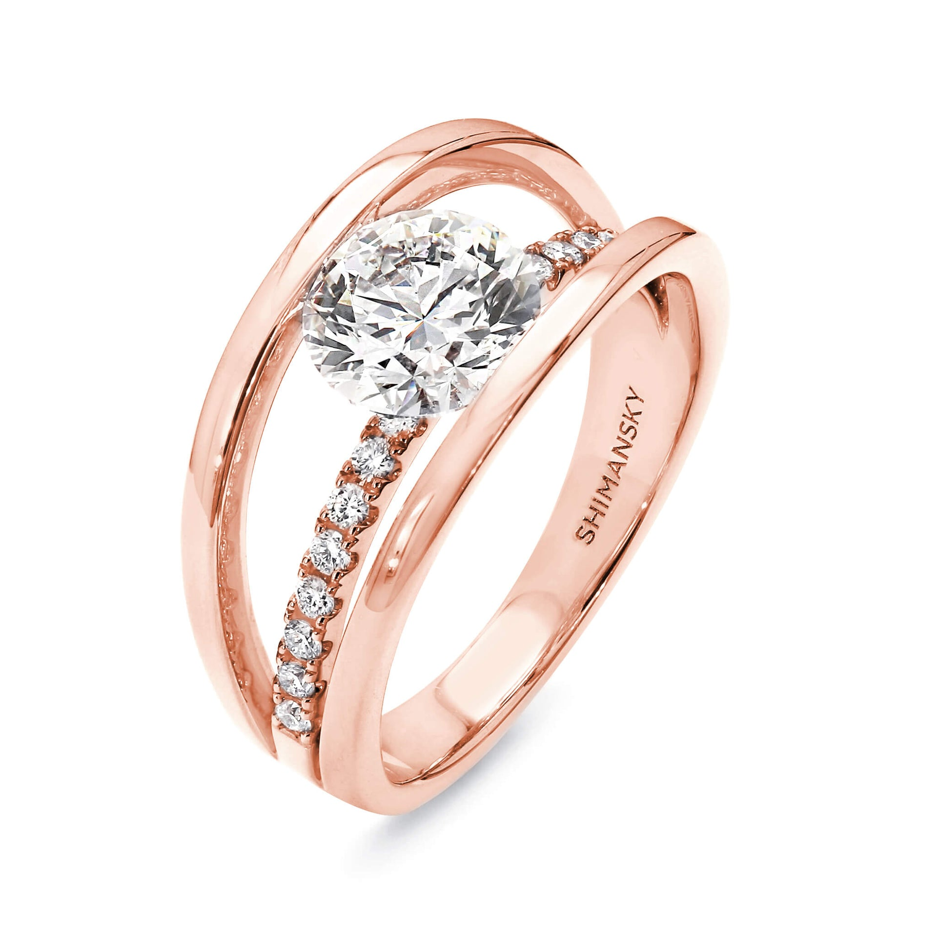 1.77 Carat Evolym Micro Set Diamond Engagement Ring in 18K Rose Gold 3D View