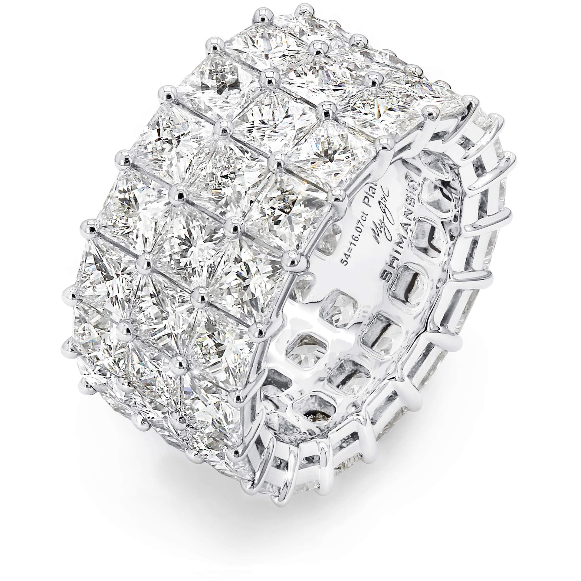 16.07 Carat My Girl Triple Row Eternity Diamond Ring in Platinum 3D View