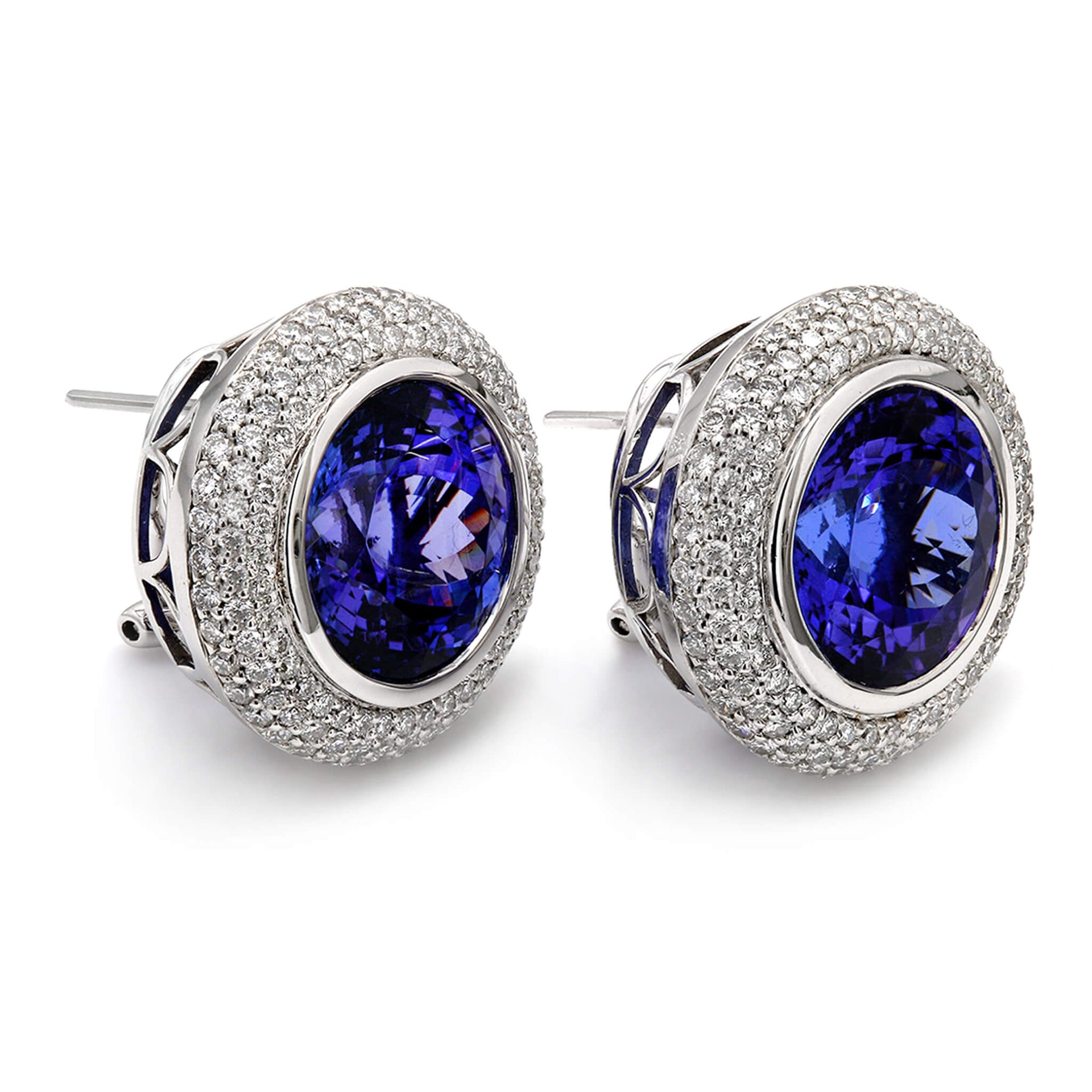 29.58 Carat Round Cut Triple Halo Design Tanzanite & Diamond Earrings in 18K White Gold 3D View