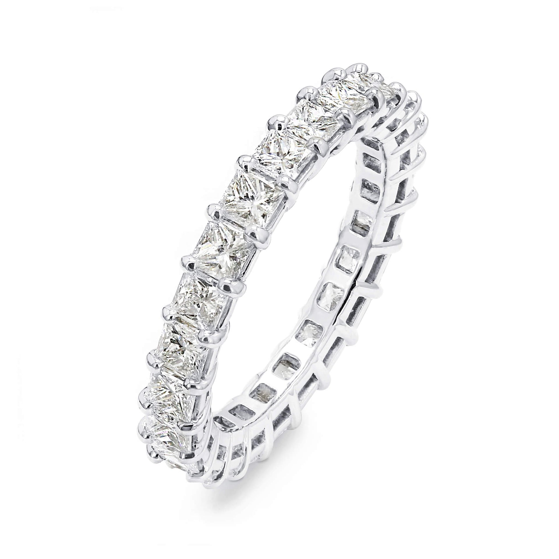3.00 Carat Princess Cut Eternity Diamond Ring in Platinum 3D View
