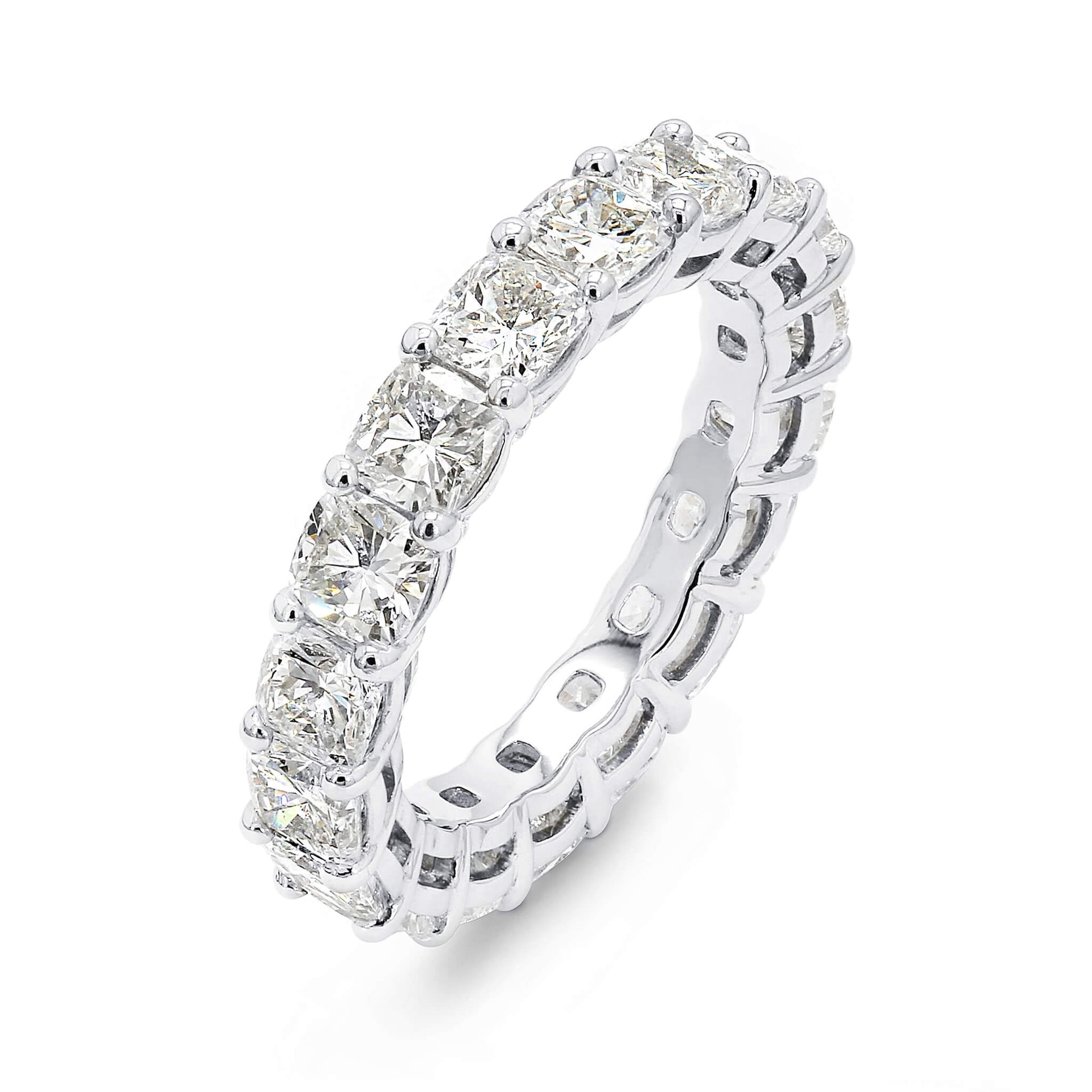 4.00 Carat Cushion Cut Eternity Diamond Ring in Platinum 3D View