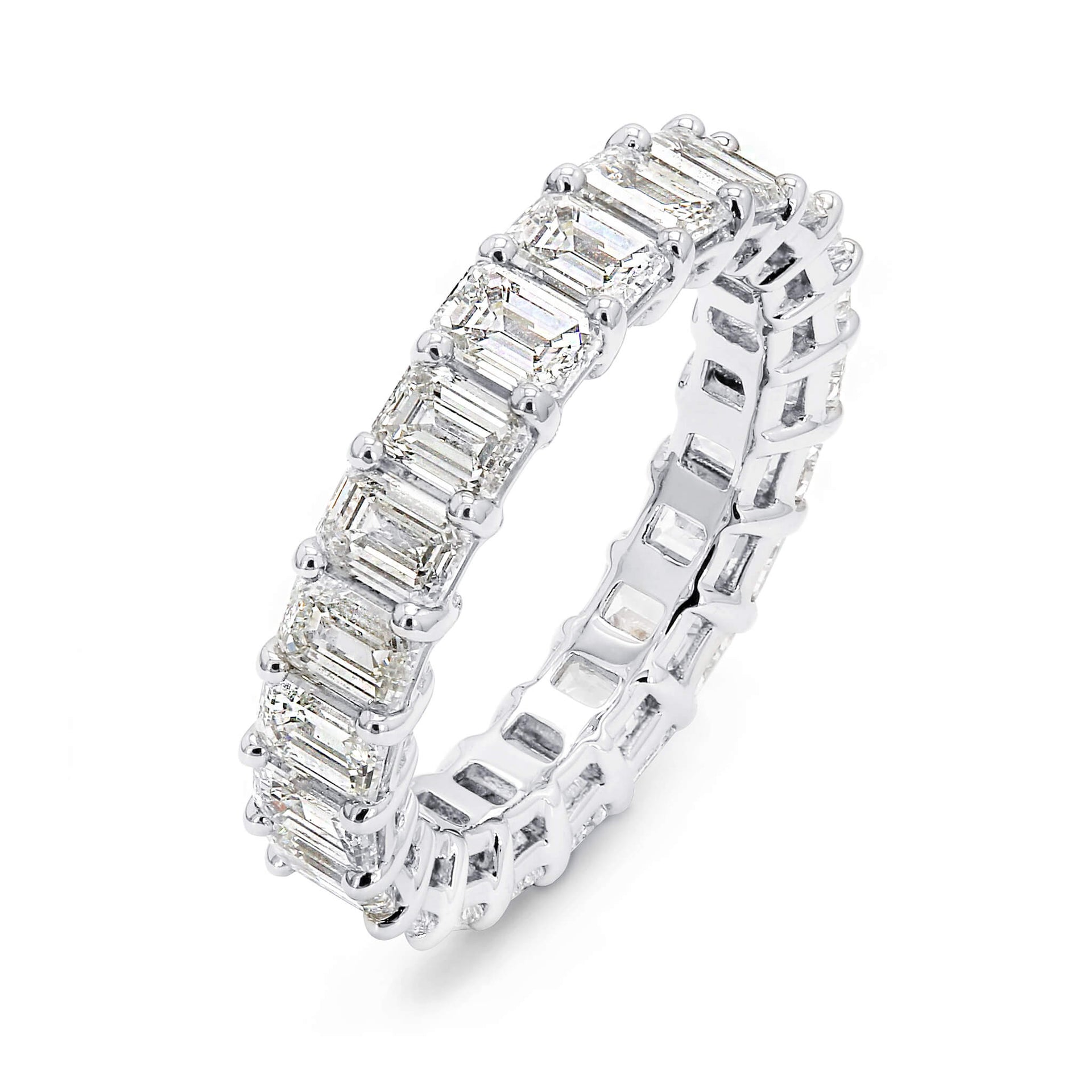 5.00 Carat Emerald Cut Eternity Diamond Ring in Platinum 3D View