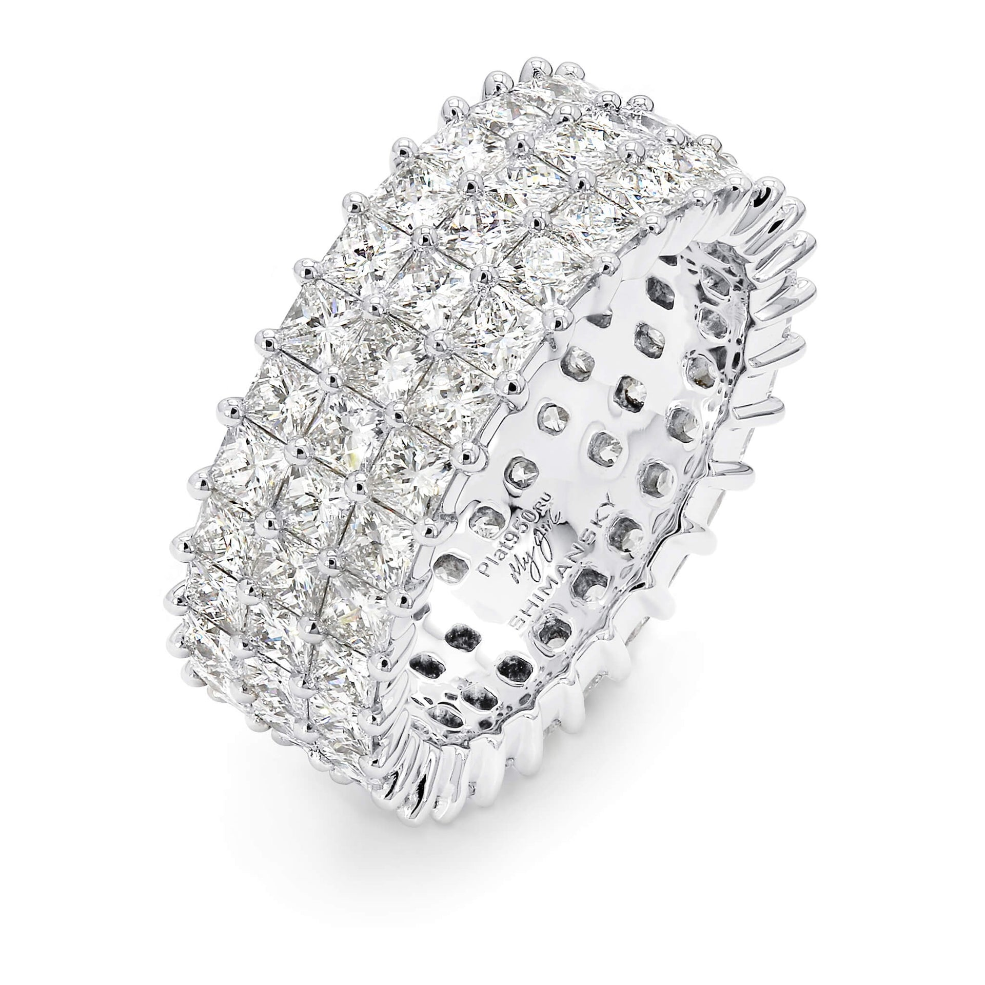 5.88 Carat My Girl Triple Row Eternity Diamond Ring in Platinum 3D View