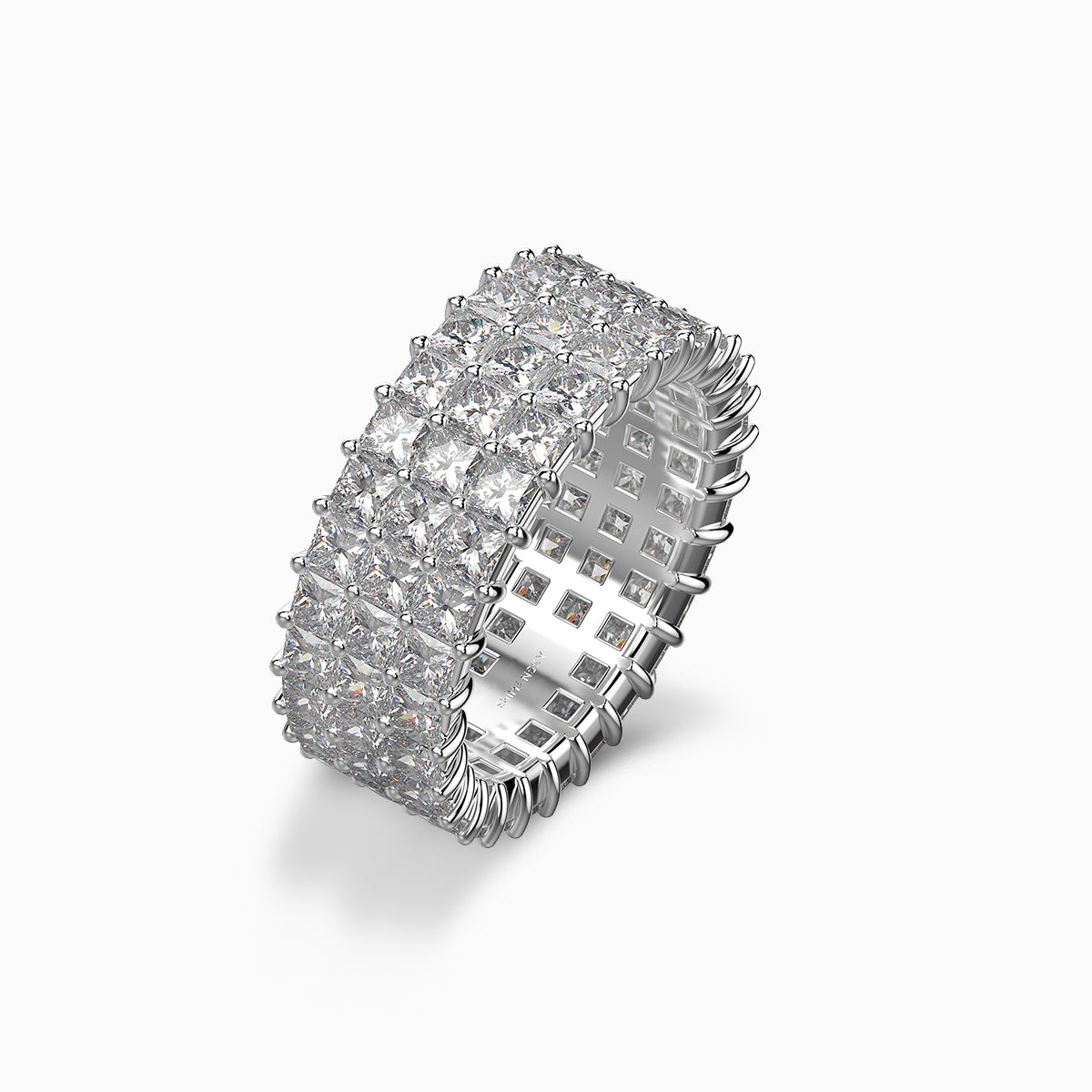 Shimansky my girl triple row eternity ring platinum