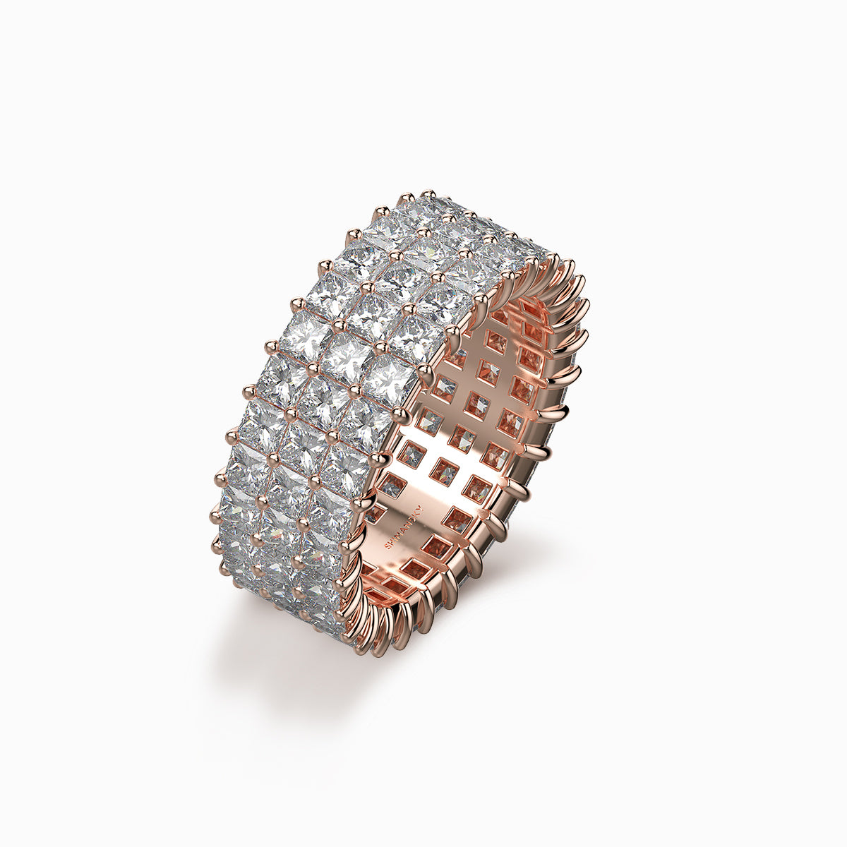 Shimansky my girl triple row eternity ring 18k pink gold