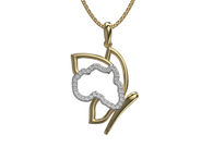 Shimansky my africa butterfly pendant 18k yellow and white gold