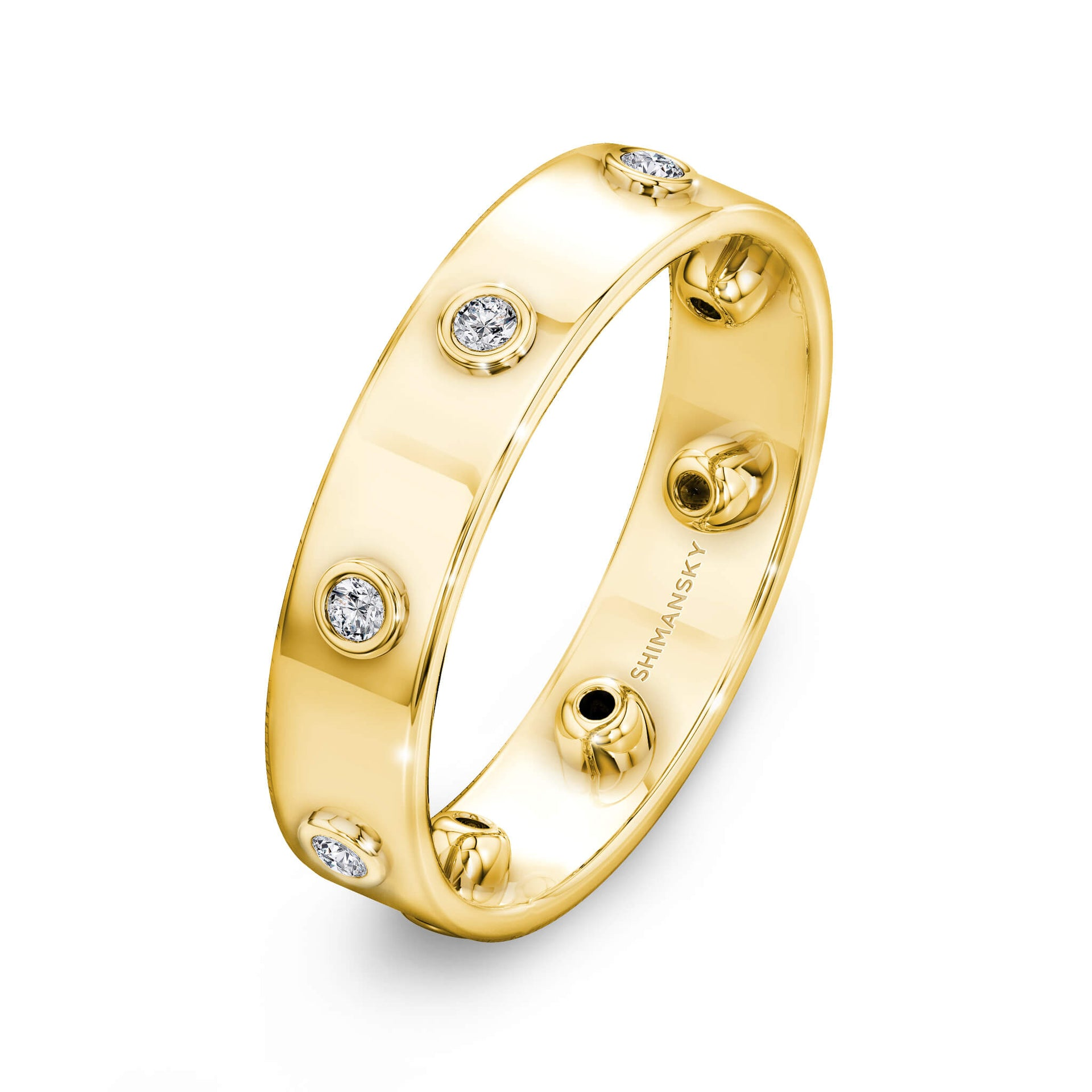 Caesar Classic Eternity Diamond Ring in 18K Yellow Gold 3D View