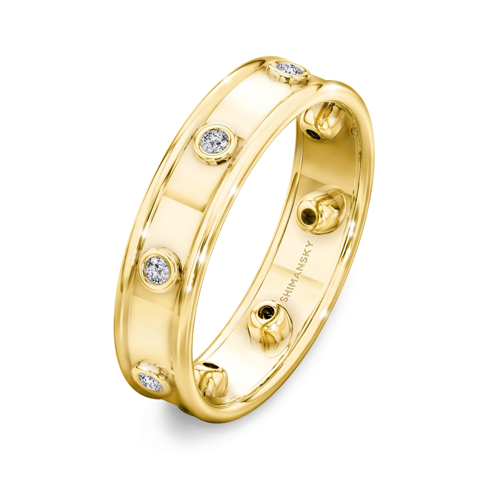 Caesar Classic Raised Edge Full Eternity Diamond Ring in 18K Yellow Gold 3D View