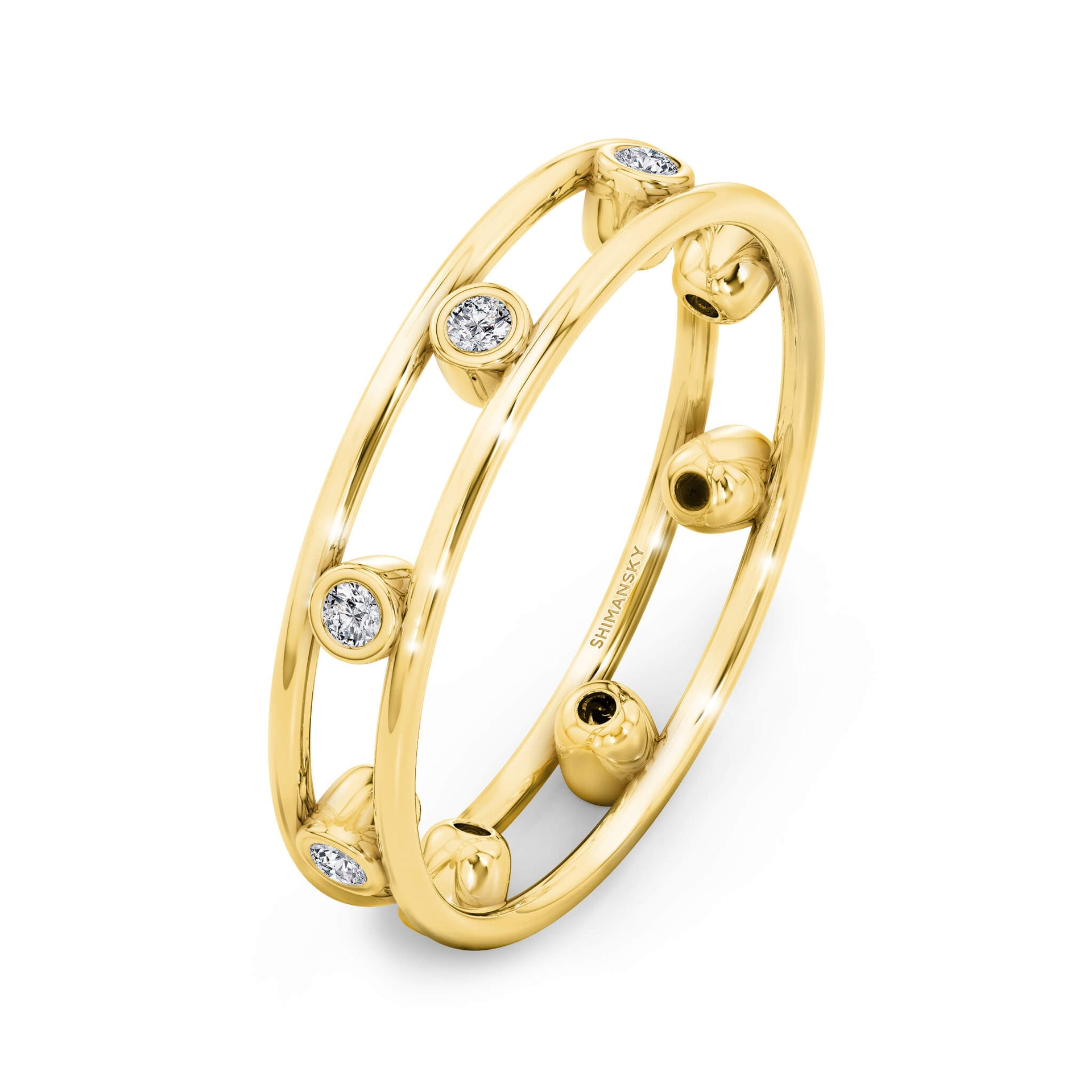 Caesar Light Full Eternity Diamond Ring in 18K Yellow 3D View
