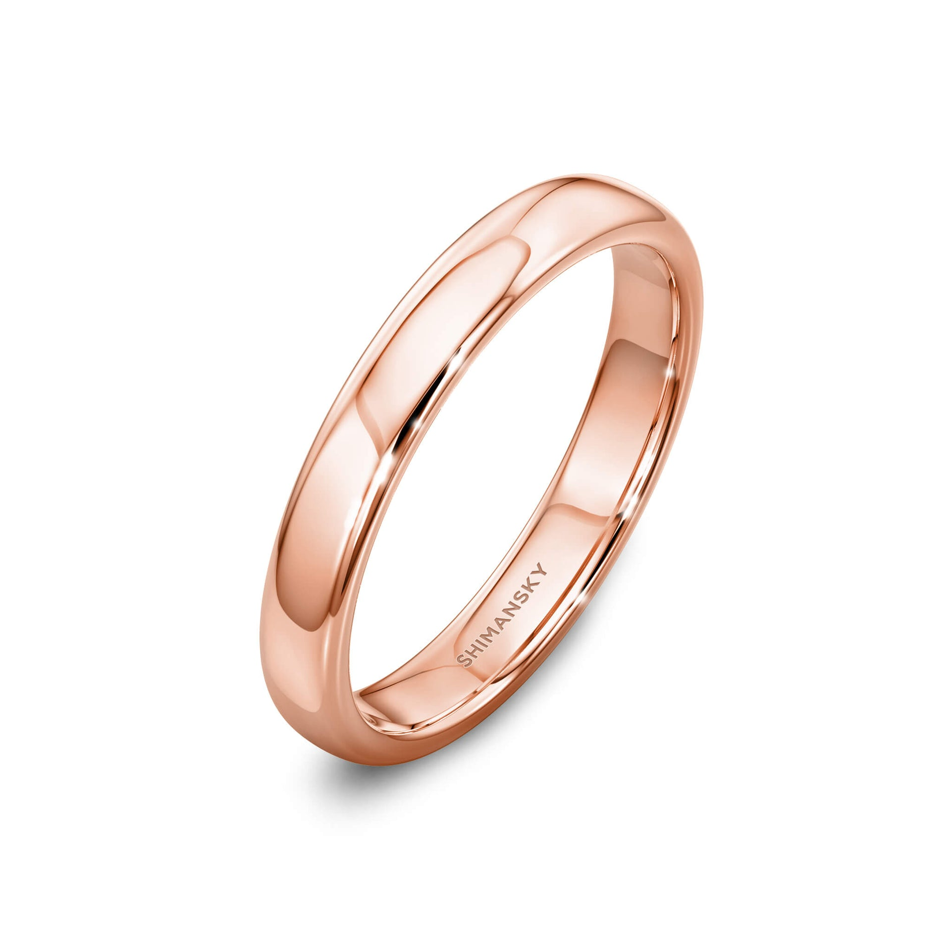Ladies Wedding Band in 18K Rose Gold 3D View