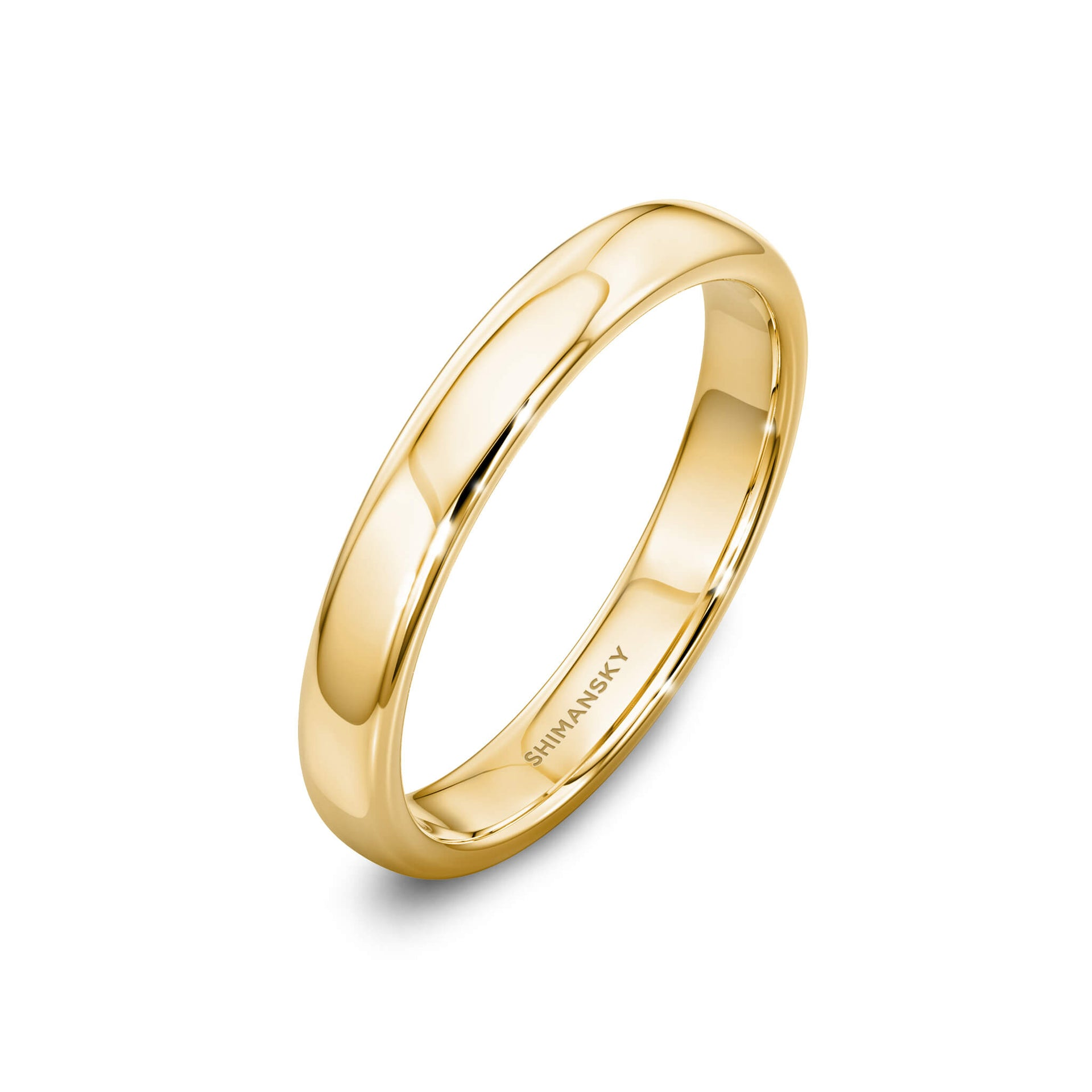 Ladies Wedding Band in 18K Yellow Gold 3D View