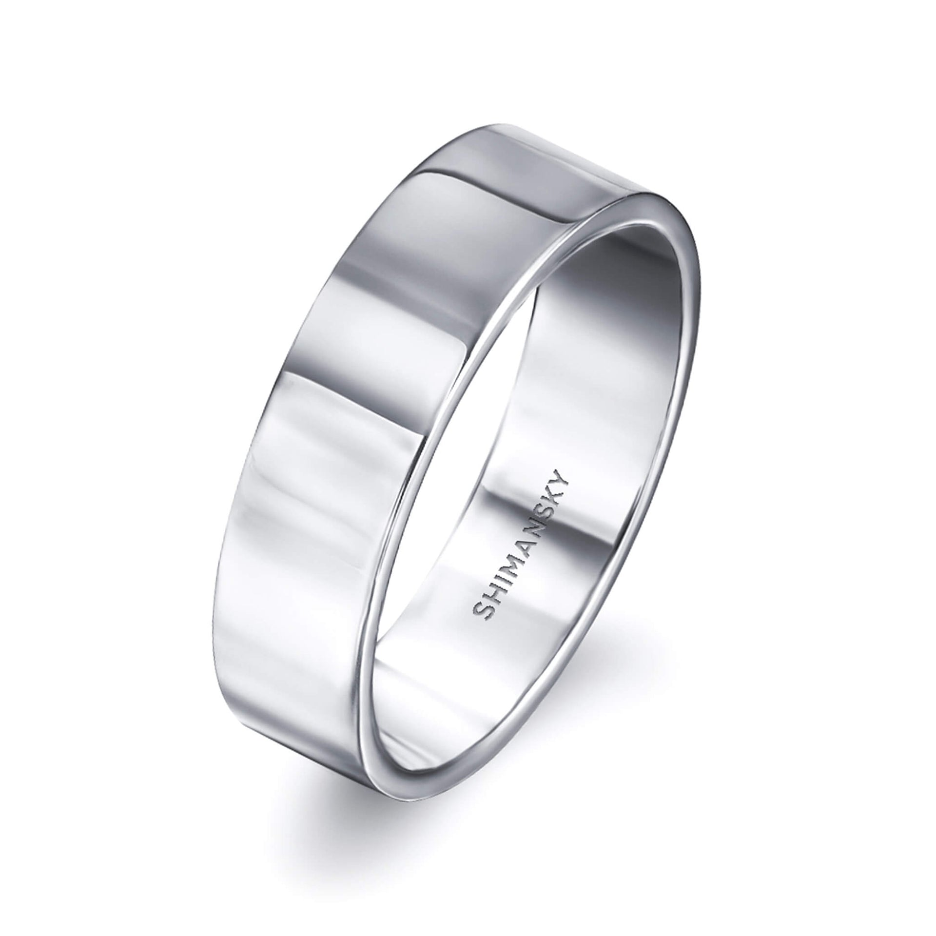 Max-Line Flat Polished Wedding Band in Palladium, 6mm 3D View
