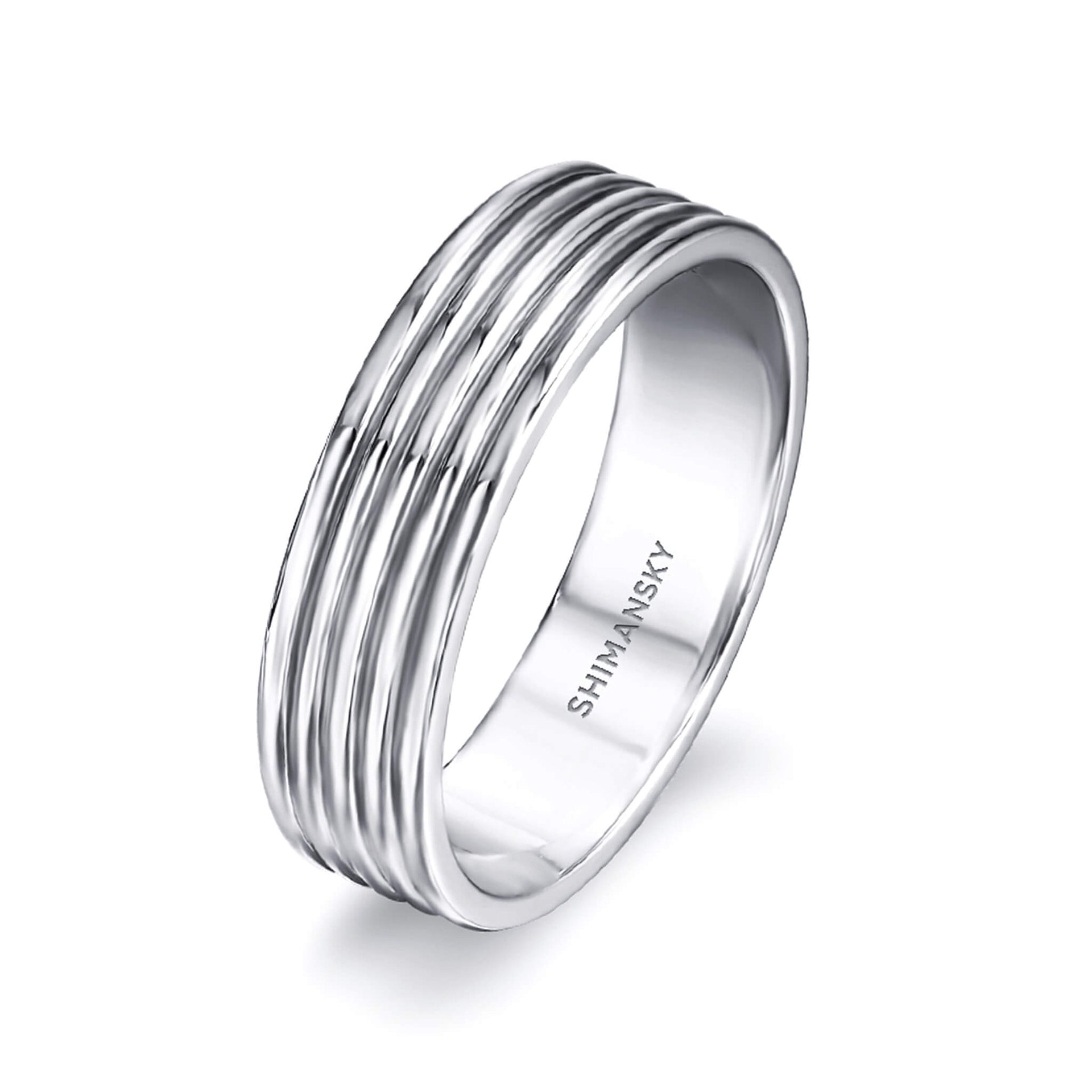 Max-Line Polished Five Rounded Wedding Band in Palladium 3D View