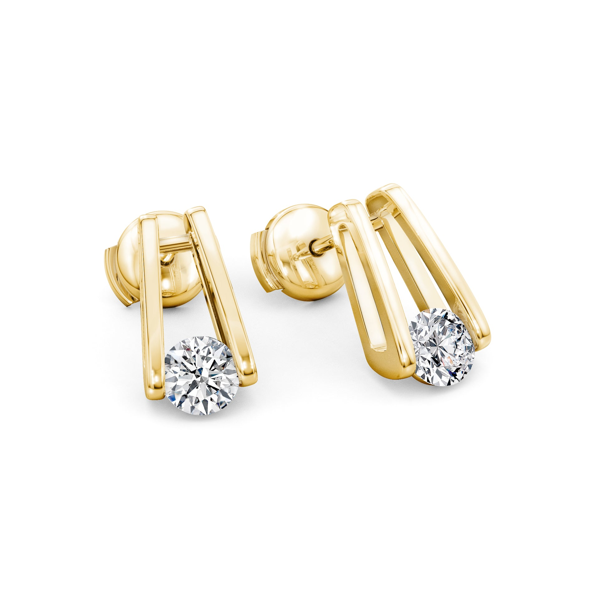 Millennium Diamond Stud Earrings in 18K Yellow Gold D View