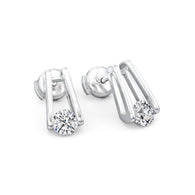 Millennium Diamond Stud Earrings in Platinum 3D View